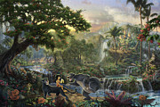 Disney Framed Prints - Jungle Book Framed Print by Thomas Kinkade