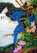 Parrot Tapestries - Textiles Metal Prints - Jungle Chats hand embroidery Metal Print by To-Tam Gerwe