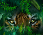 Big Cat Print Mixed Media - Jungle Eyes - Tiger by Carol Cavalaris