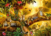 Woodland Digital Art Framed Prints - Jungle Jaguars Framed Print by Jan Patrik Krasny