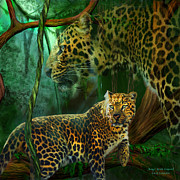 Leopard Mixed Media Posters - Jungle Spirit - Leopard Poster by Carol Cavalaris