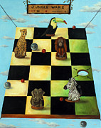 Chess Painting Framed Prints - Jungle Wars edit 1 Framed Print by Leah Saulnier The Painting Maniac