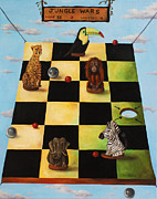 Chess Painting Framed Prints - Jungle Wars edit 2 Framed Print by Leah Saulnier The Painting Maniac