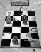 Chess Painting Framed Prints - Jungle Wars edit 3 BW Framed Print by Leah Saulnier The Painting Maniac