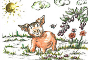 Seem Mixed Media Prints - Junior Pig Print by Teresa White
