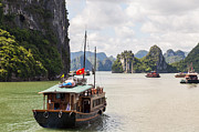 Junk Photos - Junk on Halong Bay by Fototrav Print