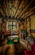 Electric Lamp Prints - Junk Room Print by Adrian Evans
