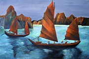 Fishing Enthusiast Art - Junks In the Descending Dragon Bay by Tracey Harrington-Simpson