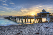 Park Dock Prints - Juno Beach Pier at Dawn Print by Debra and Dave Vanderlaan