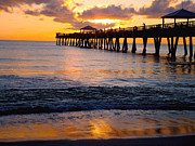 """sunset Photography"" Posters - Juno Beach pier Poster by Carey Chen"