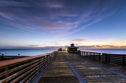 Winter Scenes Photos - Juno Beach Pier by Debra and Dave Vanderlaan