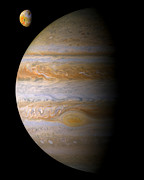 Planets Prints - Jupiter and Io Print by Bill  Wakeley