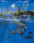 Blue Marlin Paintings - Jupiter Boat Parade by Carey Chen