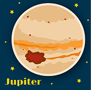 Square Digital Art Posters - Jupiter Poster by Christy Beckwith