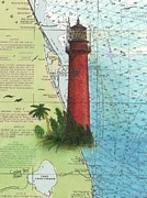 East Coast Lighthouse Paintings - Jupiter Inlet Lighthouse FL Nautical Chart Map Art Cathy Peek by Cathy Peek