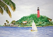 Jetty View Park Framed Prints - Jupiter Inlet Lighthouse Framed Print by Jeff Lucas