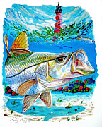 Snapper Painting Prints - Jupiter Snook Print by Carey Chen