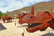Outdoor Metal Sculpture Art - Jurupa Dinosaurs - Triceratops Group by Gregory Dyer