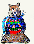 Childrens Art Drawings - Just A Bear by Brian Buckley