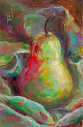 Eating Painting Metal Prints - Just a Pear - impressionist still life Metal Print by Talya Johnson