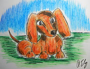 Hot Dogs Pastels - Just a Pup by Anastasia Ely