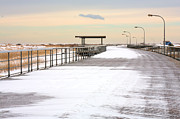 Winter Storm Photo Acrylic Prints - Just Another Boardwalk Acrylic Print by JC Findley