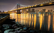 Skylines Digital Art Metal Prints - Just Another Bridge To New York City Metal Print by Clay Townsend
