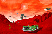 Little Green Men Digital Art - Just Another Day on the Red Planet 2 by Mike McGlothlen