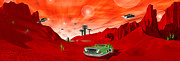 Little Green Men Digital Art - Just Another Day on the Red Planet Panoramic by Mike McGlothlen