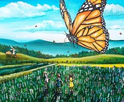 Lupines Paintings - Just Another Monarch Monday by Shana Rowe