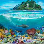 Underwater View Painting Posters - Just below the surface Poster by John Garland  Tyson