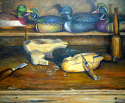 Wood Blocks Paintings - Just Ducky by Sharen AK Harris