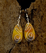 Gold Earrings Jewelry Originals - Just Dusk by Sandra Schultz