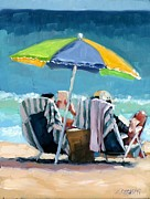Beach Umbrella Prints - Just Leave A Message III Print by Laura Lee Zanghetti