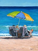 Beach Umbrella Prints - Just Leave a Message IV Print by Laura Lee Zanghetti
