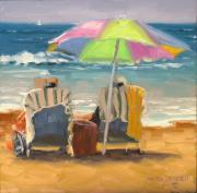 Beach Umbrella Prints - Just Leave a Message Jr Print by Laura Lee Zanghetti