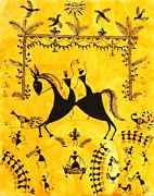 Warli Paintings - Just Married by Anjali Vaidya