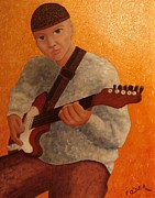 Guitar Player Painting Originals - Just me and my Guitar by Frank O Dea