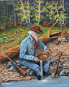 Rifle Painting Originals - Just One More Pan by Julie Townsend