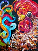 Bright Color Rooster Prints - Just Plain Silly Print by Eloise Schneider