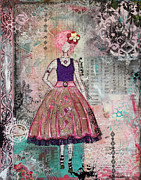 Beautiful Artwork Mixed Media - Just Smile Unique abstract Mixed Media artwork by Janelle Nichol