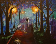 Rainy Night Paintings - Just The Two Of Us by Leslie Allen