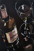 Red Wine Paintings - Just the Two of Us by Sandra Frosst