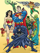 John Ashton Golden Framed Prints - Justice League Framed Print by John Ashton Golden