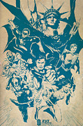 Dc Comics Paintings - Justice League of America by FHT Designs