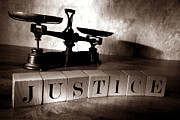 Wood Blocks Posters - Justice Poster by Olivier Le Queinec