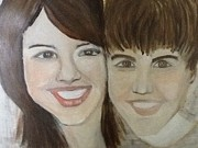 Justin Bieber Paintings - Justin and Salena by Corinne Mcdonald