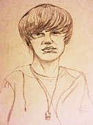 Justin Bieber Drawing Posters - Justin Bieber 1 Poster by Esther Rowden