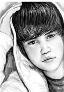 Signed Mixed Media Posters - Justin bieber art drawing sketch portrait - 1 Poster by Kim Wang
