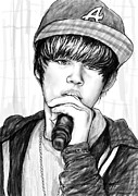 Justin Bieber Art Drawing Prints - Justin bieber art drawing sketch portrait - 2 Print by Kim Wang